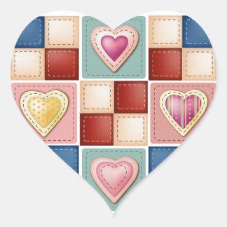Corazones acolchados pegatina en forma de corazón