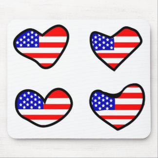 Corazones adorables de la bandera de los E.E.U.U. Alfombrilla De Ratones