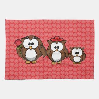 Corazones adorables de la familia del búho toallas de cocina