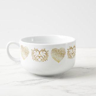 Corazones afiligranados del oro metálico del cuenco para sopa