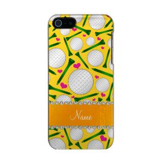 Corazones amarillos conocidos personalizados de carcasa de iphone 5 incipio feather shine