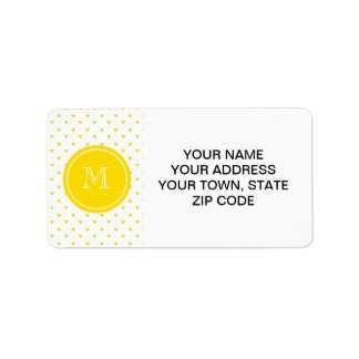 Corazones amarillos del brillo con el monograma etiqueta de dirección