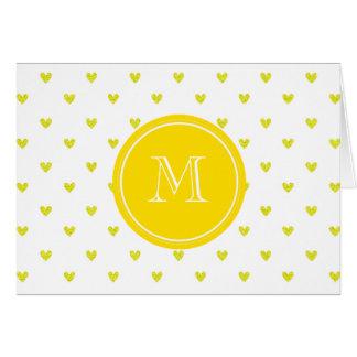 Corazones amarillos del brillo con el monograma tarjeta pequeña
