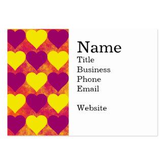 Corazones amarillos y púrpuras en fondo anaranjado tarjetas de visita