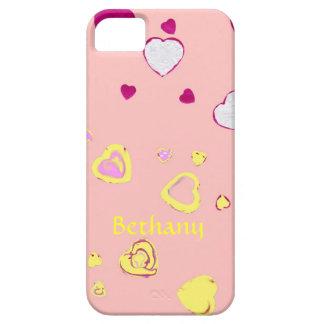 Corazones amarillos y rojos en rosa en colores funda para iPhone SE/5/5s