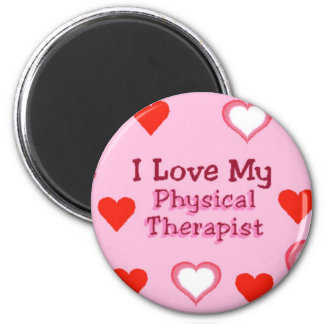 Corazones: Ame a mi terapeuta físico Imán Redondo 5 Cm