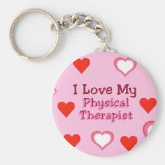 Corazones Ame a mi terapeuta físico Llavero