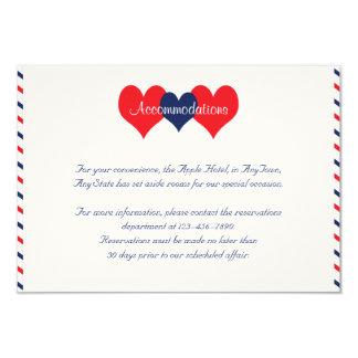 """Corazones americana que casan el parte movible invitación 3.5"""" x 5"""""""