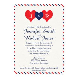 Corazones americana que casan la invitación invitación 12,7 x 17,8 cm