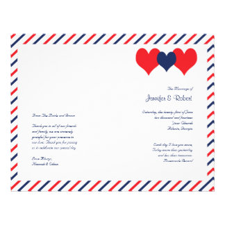 Corazones americana que casan programa flyer personalizado