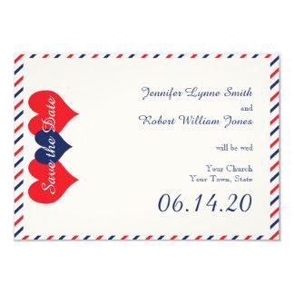 """Corazones americana que casan reserva la fecha invitación 3.5"""" x 5"""""""