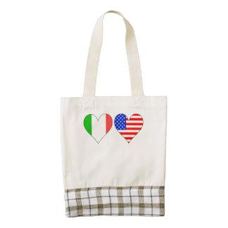 Corazones americanos italianos bolsa tote zazzle HEART