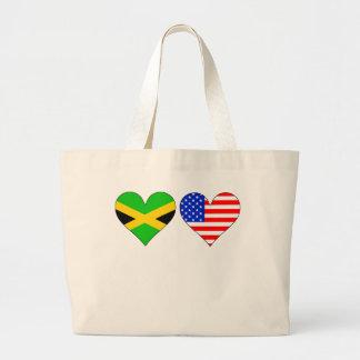 Corazones americanos jamaicanos bolsa tela grande