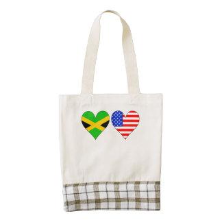 Corazones americanos jamaicanos bolsa tote zazzle HEART