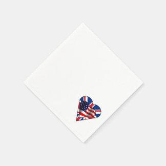Corazones americanos y británicos de la bandera servilleta desechable