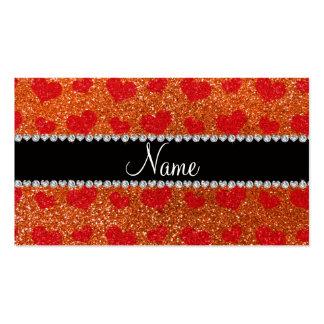 Corazones anaranjados conocidos de encargo del roj tarjetas de visita