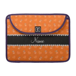 Corazones anaranjados conocidos personalizados del funda para macbook pro