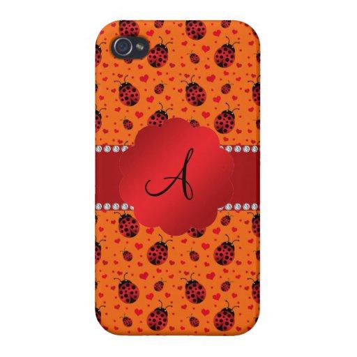 Corazones anaranjados de las mariquitas del monogr iPhone 4/4S carcasa