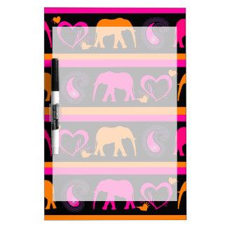 Corazones anaranjados de Paisley de los elefantes  Pizarras Blancas