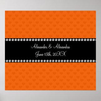 Corazones anaranjados que casan favores póster