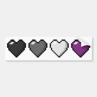 Corazones asexuales del pixel pegatina para auto