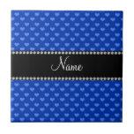 Corazones azules conocidos personalizados azulejo