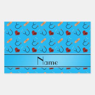 Corazones azules conocidos personalizados del pegatina rectangular