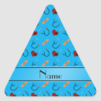 Corazones azules conocidos personalizados del pegatina triangular