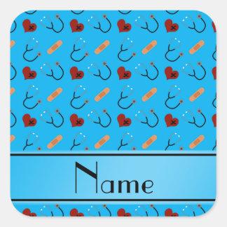 Corazones azules conocidos personalizados del pegatina cuadrada