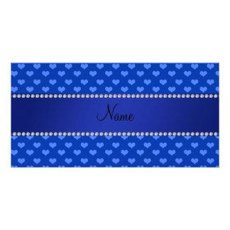 Corazones azules conocidos personalizados tarjetas personales con fotos
