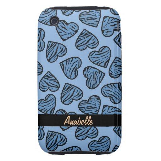 Corazones azules de la impresión del tigre funda resistente para iPhone 3