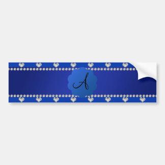 Corazones azules de los diamantes del monograma pegatina de parachoque