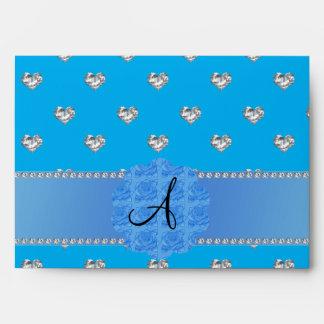 Corazones azules de los diamantes del monograma