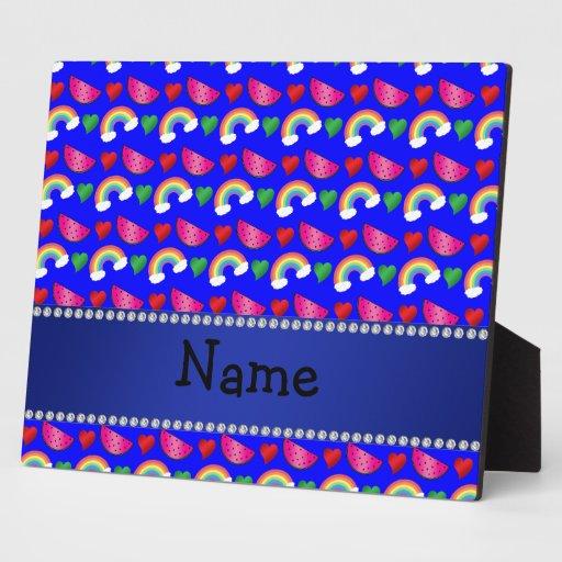Corazones azules de neón conocidos de encargo de l placas con fotos