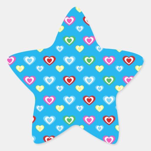 Corazones azules del arco iris pegatina en forma de estrella