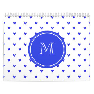 Corazones azules del brillo de Palatinado con el Calendario