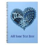 Corazones azules en Doodle del fuego Cuaderno