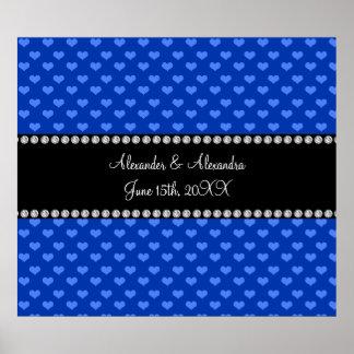 Corazones azules que casan favores póster