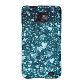 Corazones azulverdes galaxy SII fundas