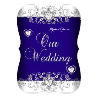 """Corazones b del diamante de la plata del boda del invitación 5"""" x 7"""""""