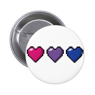 Corazones bisexuales del pixel pin redondo de 2 pulgadas