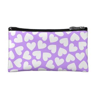 Corazones blancos - bolso cosmético púrpura
