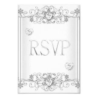 """Corazones blancos de plata 2 del diamante de RSVP Invitación 3.5"""" X 5"""""""
