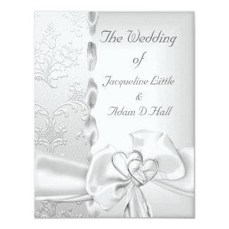 Corazones blancos de plata florales del arco del invitaciones personalizada