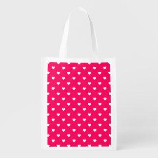 Corazones blancos de Polkadot del caramelo en rosa Bolsas Reutilizables