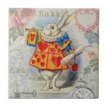 Corazones blancos del conejo azulejo cuadrado pequeño