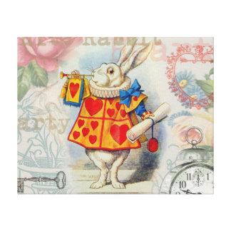 Corazones blancos del conejo impresión en lienzo estirada