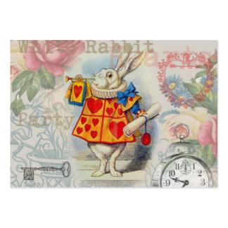 Corazones blancos del conejo tarjeta de visita