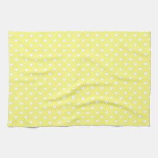 Corazones blancos en amarillo toalla de cocina