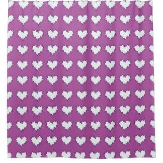 Corazones blancos en la cortina de ducha púrpura cortina de baño